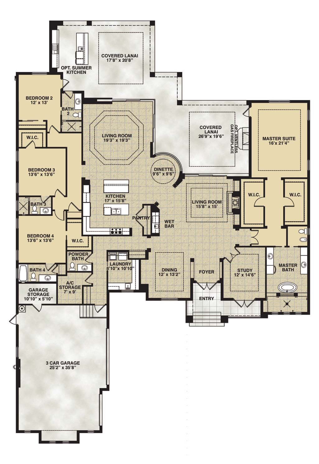 Cameron Floor Plan in Bay Woods, Stock Construction, 4 Bedroom, 4.5 Bath, Living Room, Family Room, Dining Room, Dinette, Study, Outdoor Living, 3-car Garage