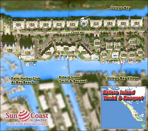 Estero Island Yacht And Racquet Club Overhead Map
