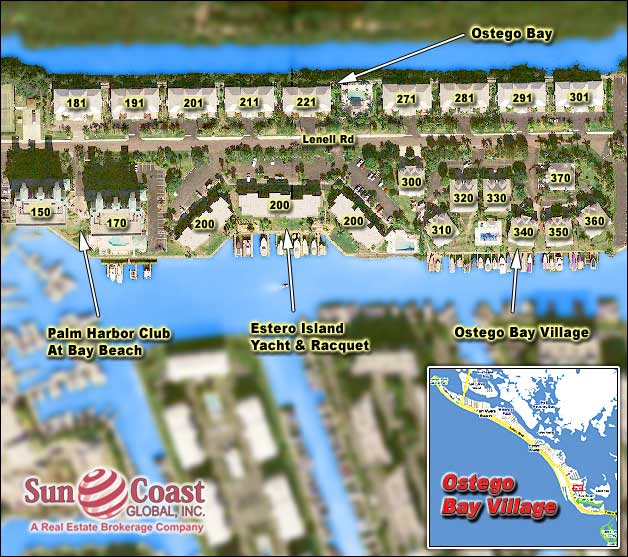 Ostego Bay Village Overhead Map