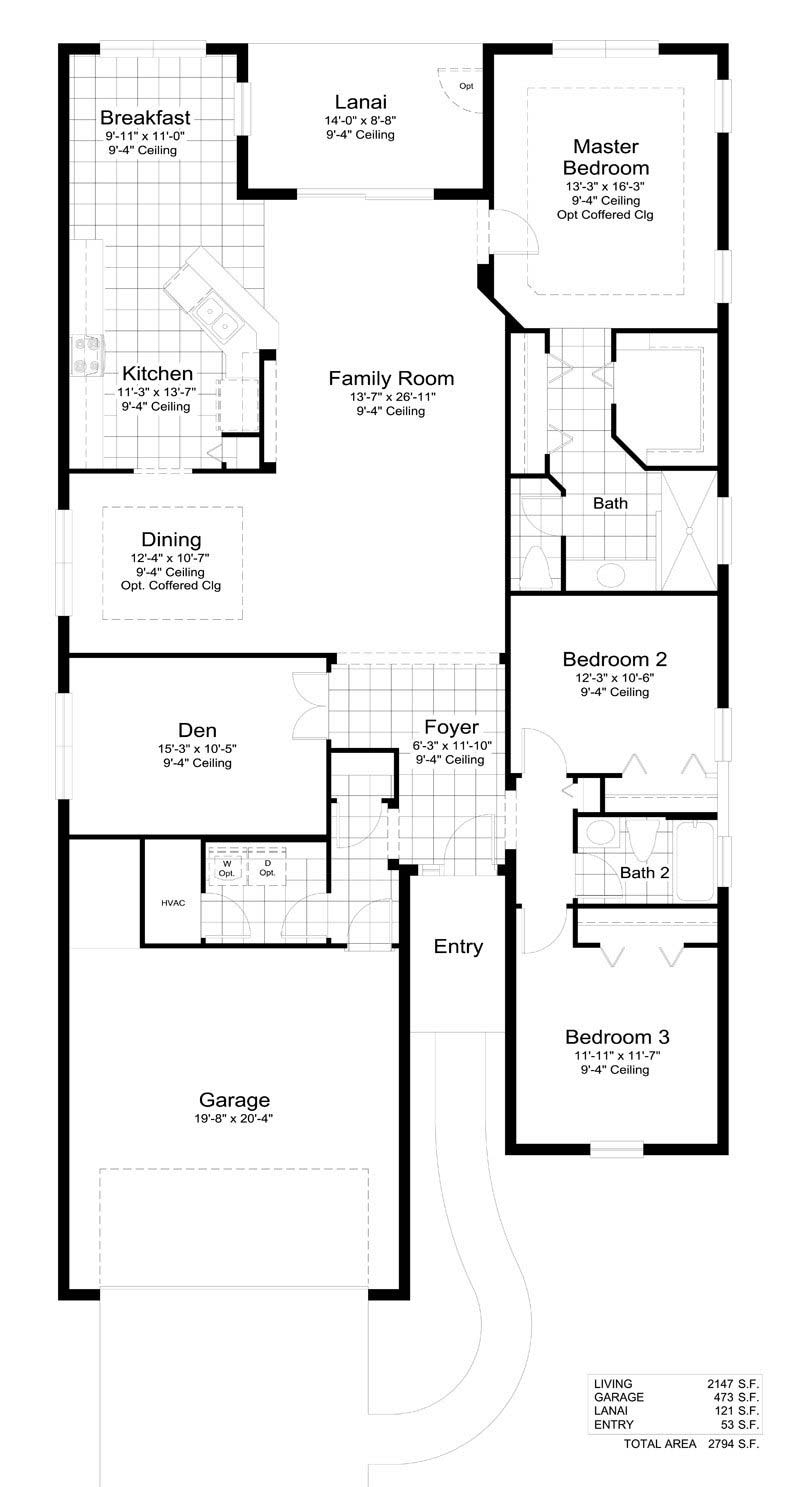 Blue Sky 2 Floor Plan in Coastal Key, Fort Myers by Neal Communities, 3 Bedrooms, 2 Bathrooms, 2 Car garage, 2,147 Square feet, 1 Story home