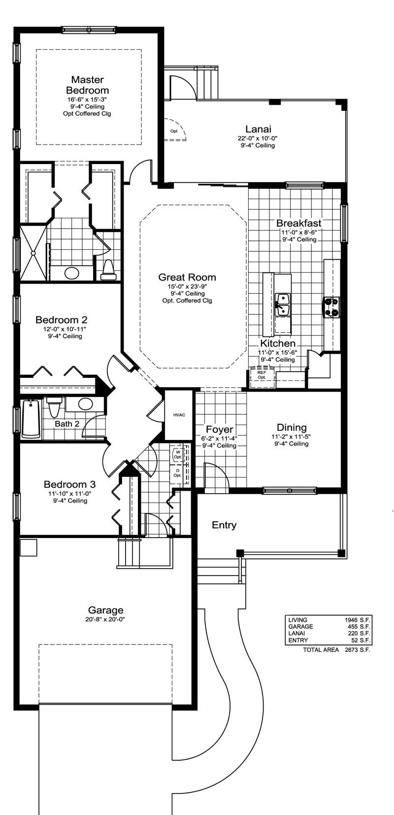 White Sand Floor Plan in Coastal Key, Fort Myers by Neal Communities, 3 Bedrooms, 2 Bathrooms, 2 Car garage, 1,946 Square feet, 1 Story home