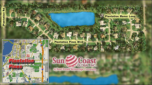 Plantation Pines Overhead Map