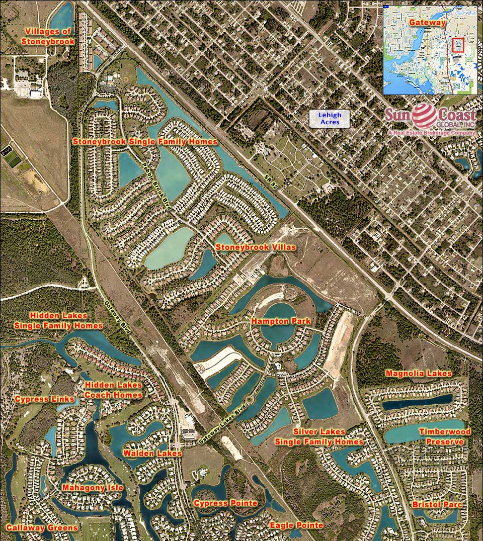 SILVERLAKES SINGLE FAMILY HOMES At GATEWAY Real Estate FORT MYERS - Florida map ft myers