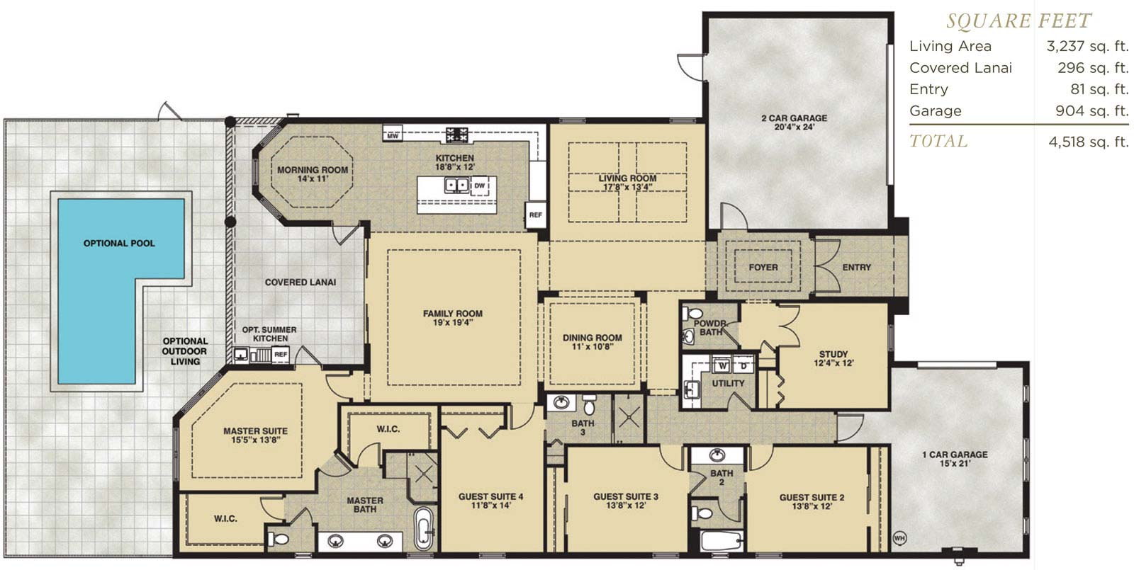 Antilles Floor Plan in Hidden Harbor Estates, Fort Myers, Stock Construction, Four Bedroom, Three and One Half Bath, Living Room, Family Room, Dining Room, Study, Covered Lanai, 2-Car Garage and 1-Car Garage