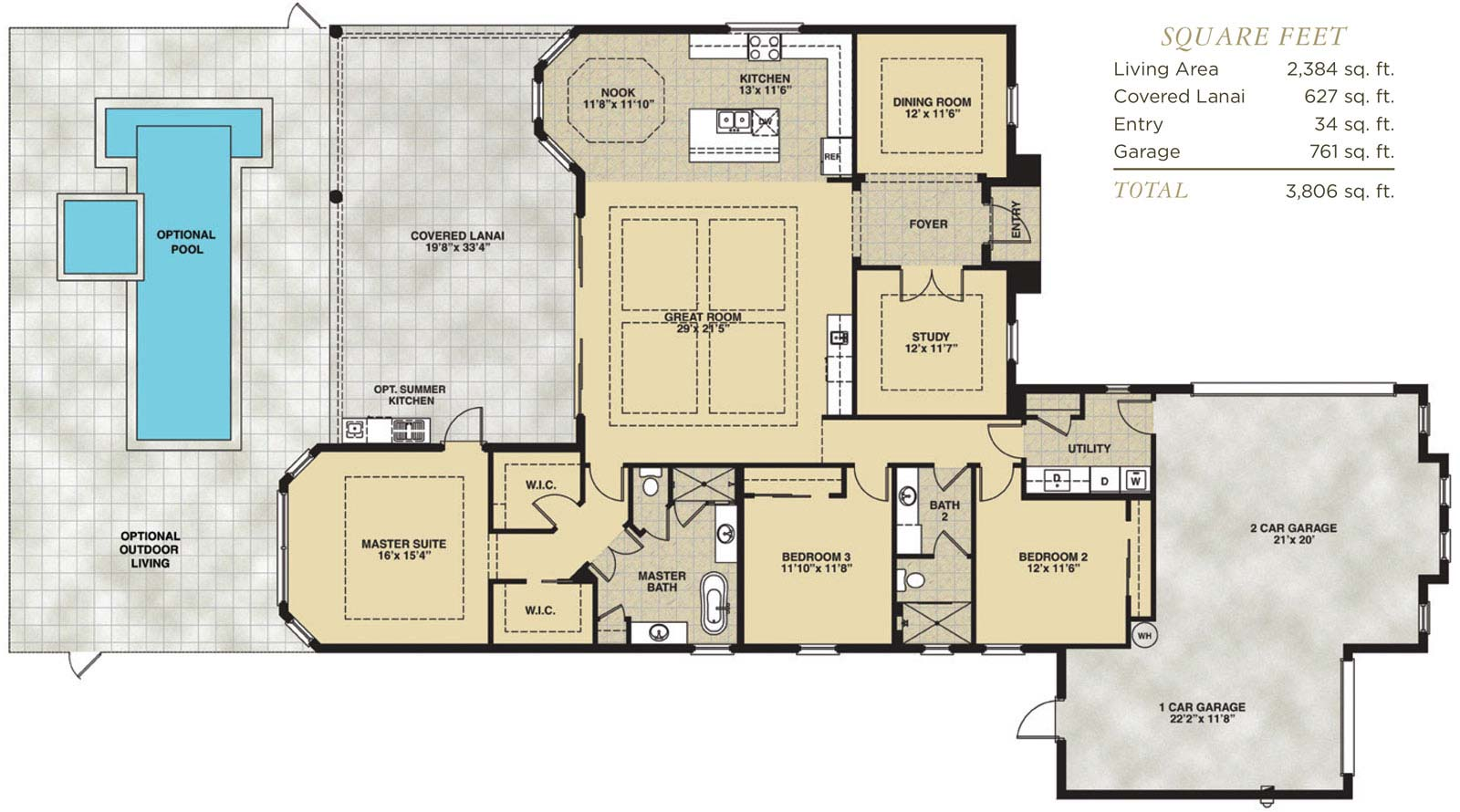 Biscayne Floor Plan in Hidden Harbor Estates, Fort Myers, Stock Construction, Three Bedroom, Two Bath, Great Room, Dining Room, Study, Covered Lanai, 2-Car Garage and 1-Car Garage