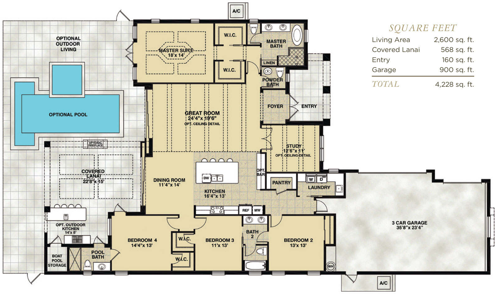 Captiva Floor Plan in Hidden Harbor Estates, Fort Myers, Stock Construction, Four Bedroom, Three and One Half Bath, Great Room, Dining Room, Study, Outdoor Living, 3-Car Garage