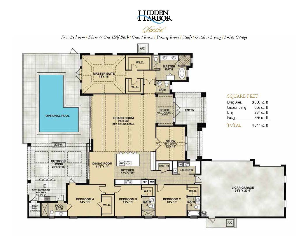Sanibel Floor Plan in Hidden Harbor Estates, Fort Myers, Stock Construction, Four Bedroom, Three and One Half Bath, Grand Room, Dining Room, Study, Outdoor Living, 3-Car Garage