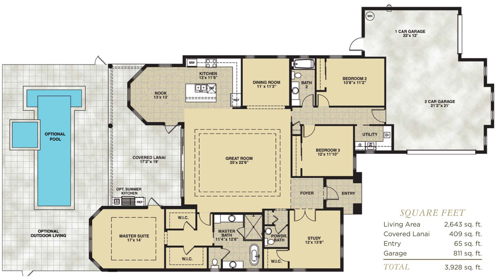 Venice Floor Plan in Hidden Harbor Estates, Fort Myers, Stock Construction, Three Bedroom, Two and One Half Bath, Great Room, Dining Room, Study, Covered Lanai, 2-Car Garage and 1-Car GarageThree Bedroom, Two and One Half Bath, Great Room, Dining Roo