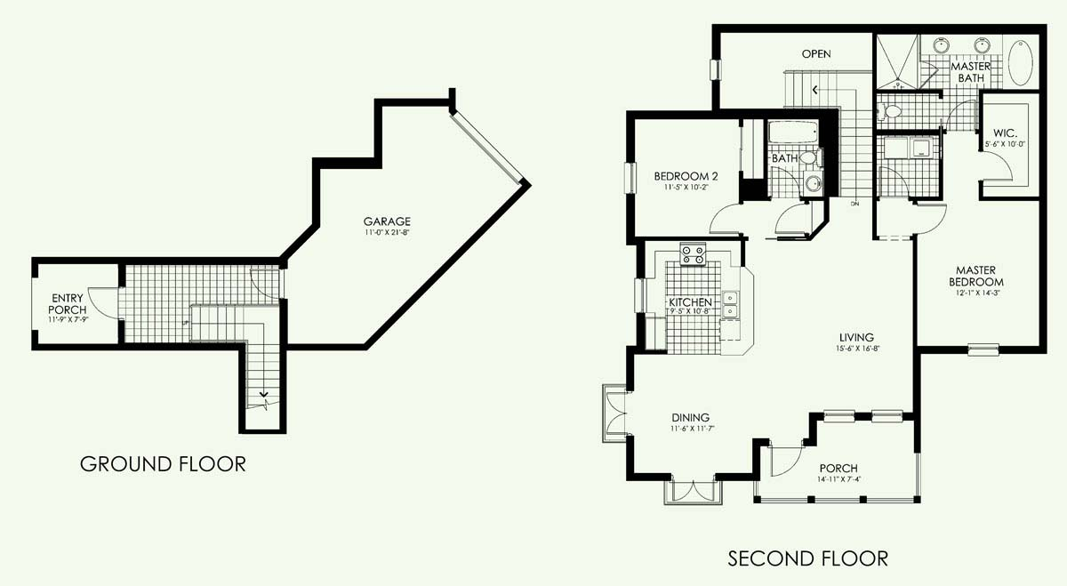 San Benito Townhome Floor Plan in Paseo,2 bedroom, 2 bath, living room, dining room, porch and 1-car garage
