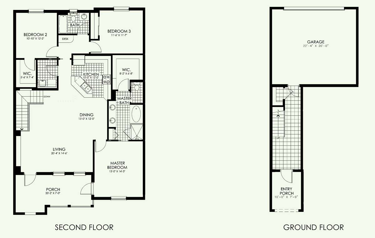 Santa Pablo Townhome Floor Plan in Paseo, 3 bedroom, 2 bath, living room, dining room, porch and 2-car garage