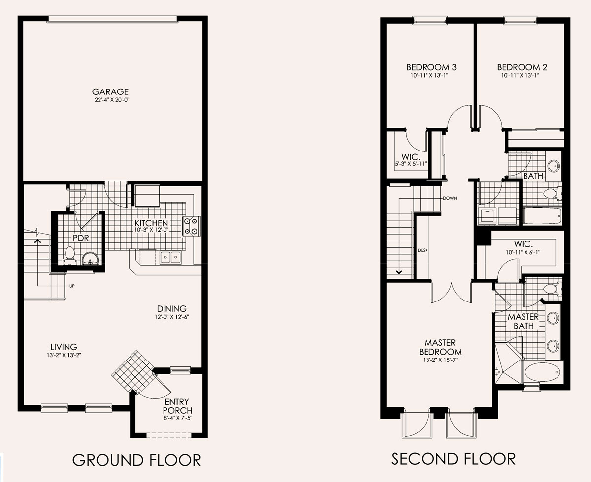 Santa Ana Townhome Floor Plan in Paseo, 3 bedroom, 2.5 bath, living room, dining room, entry porch and 2-car garage
