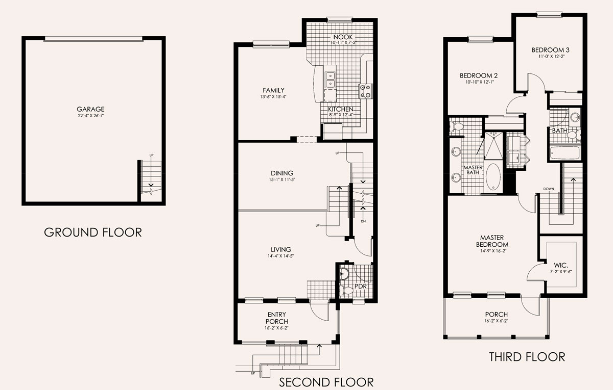 Santa Barbara Townhome Floor Plan in Paseo, 3 bedroom, 2.5 bath, living room, dining room, family room, 2 porches and 2-car garage