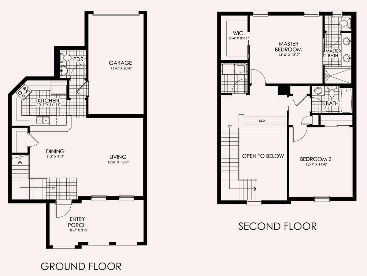 Santa Monica Townhome Floor Plan in Paseo, 2 bedroom, 2.5 bath, living room, dining room, entry porch and 1-car garage