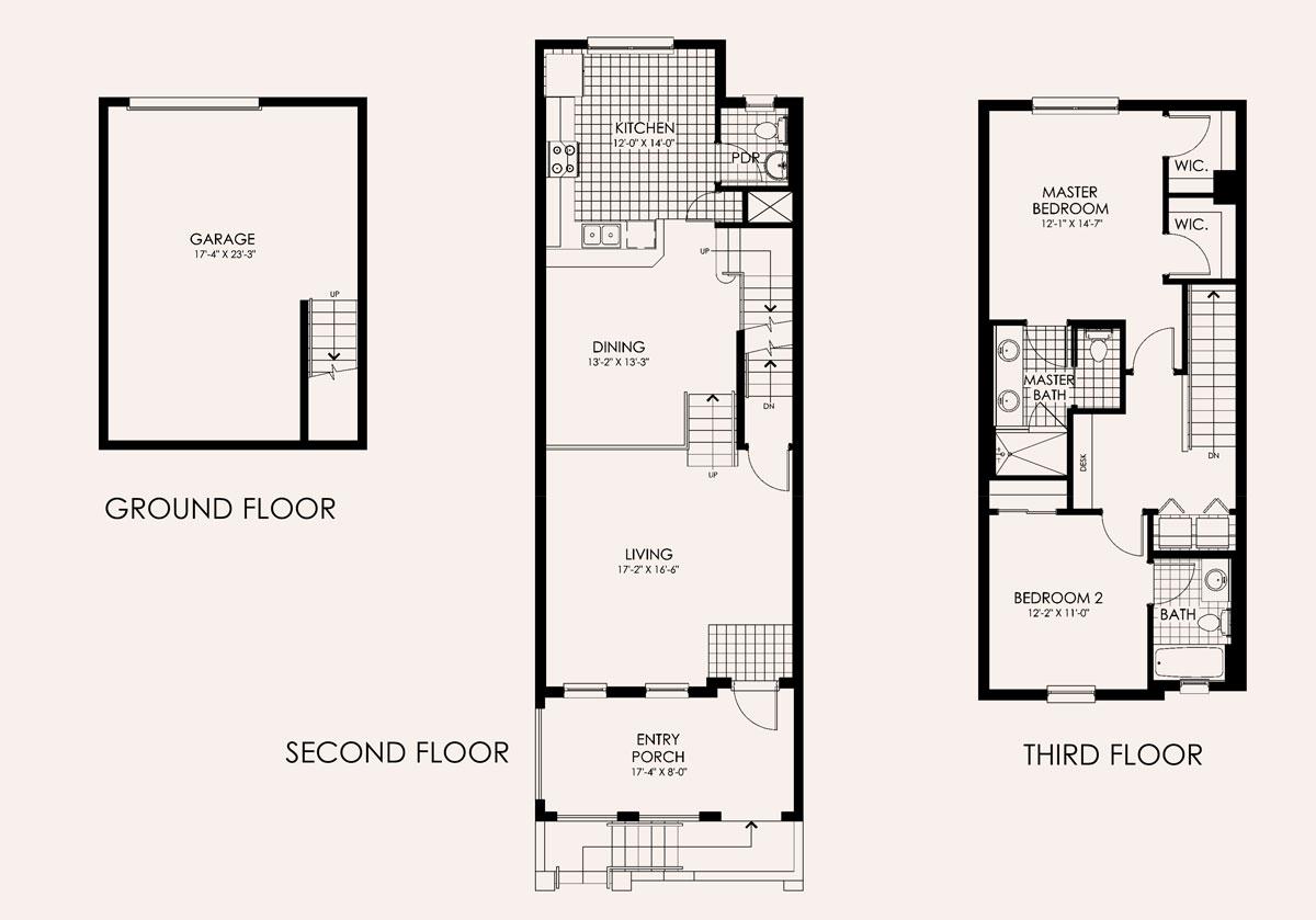 Santa Rosa Townhome Floor Plan In Paseo, 3 Bedroom, 2.5 Bath, Living Room