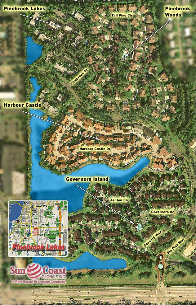 Pinebrook Lakes Overhead Map