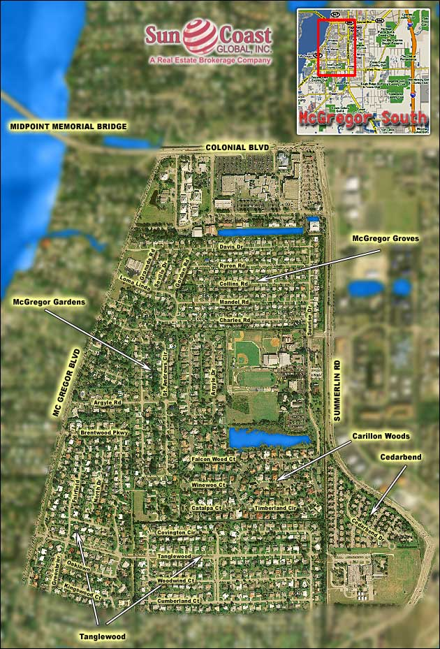 Fort Myers Mcgregor South Area Overhead Map